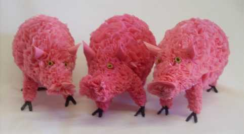 Pigs, recycled plastic