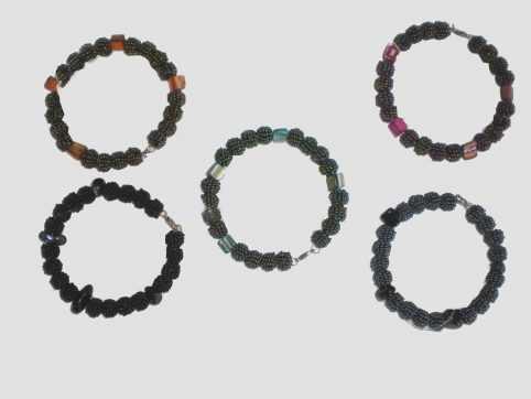 multi beaded ball and stone bangles